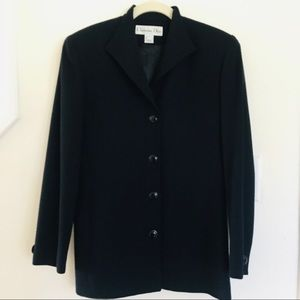 Christian Dior Long Blazer Wool Jacket Sz 4 Navy